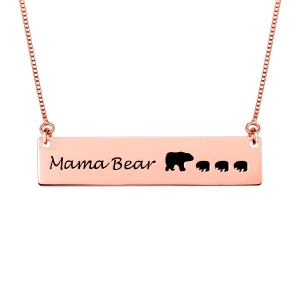 Collier Mama Bear-Plaqué Or Rose